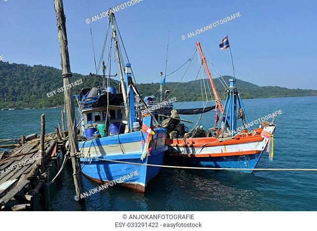 fishermansboat in water Thailand