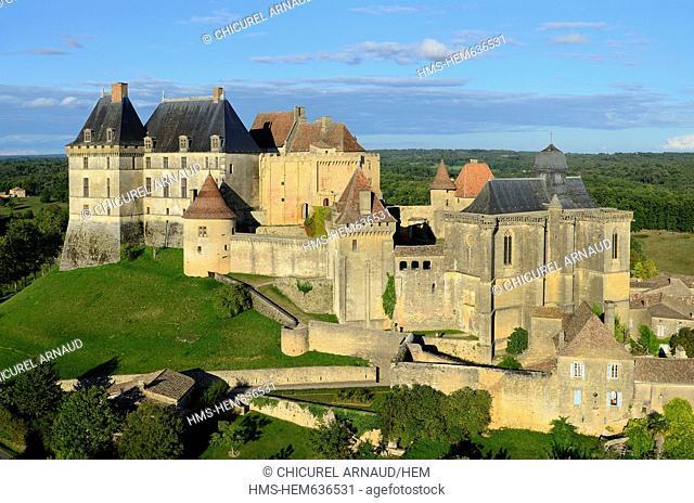 France, Dordogne, Perigord Pourpre, Biron Castle aerial view