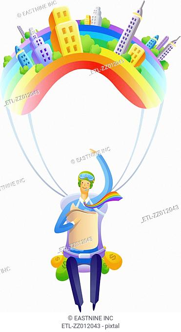 Businessman flying on a parachute