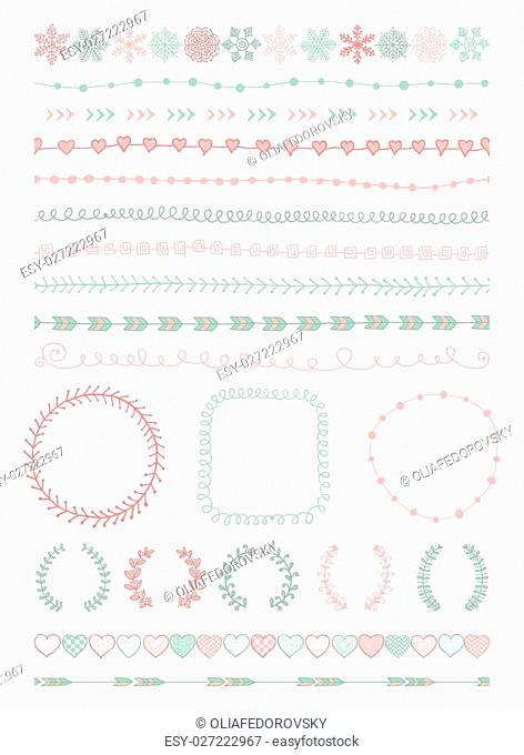 Colorful Hand-Drawn Doodle Seamless Borders and Design Elements. Decorative Flourish Frames, Brackets. Vector Illustration. Pattern Brushes