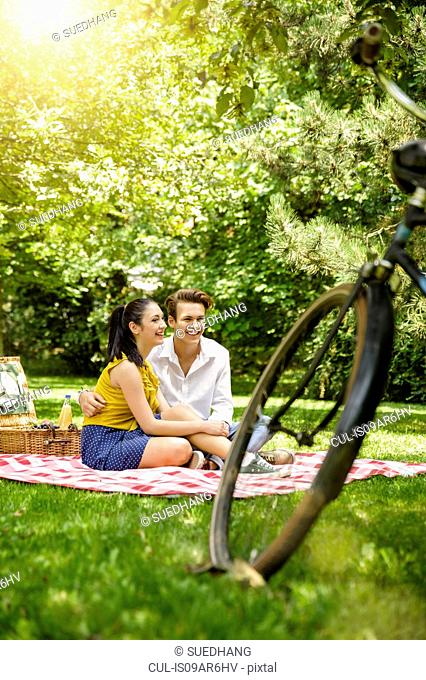 Young couple sitting together on picnic blanket