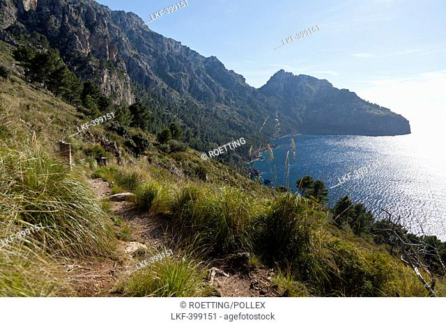 Awesome hiking trail along the north coast of mountains, Mediterranean Sea, Cala Tuent to Soller, Serra de Tramuntana, UNESCO World Nature Site, Mallorca, Spain