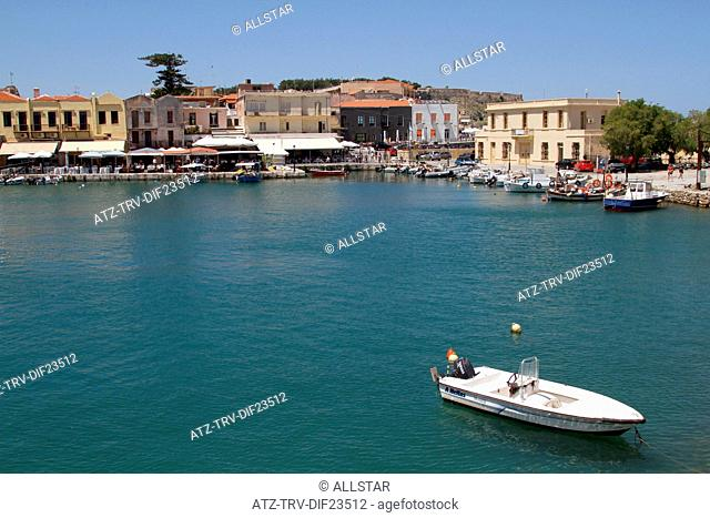 SPEED BOAT & HARBOUR BUILDINGS; RETHYMNON, CRETE, GREECE; 02/05/2014