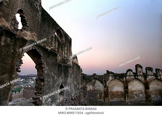 The majestic Golkonda fort in Hyderabad, the capital of the ancient Hyderabad state that existed from the 14th to 16th century The fort is the biggest fortress...