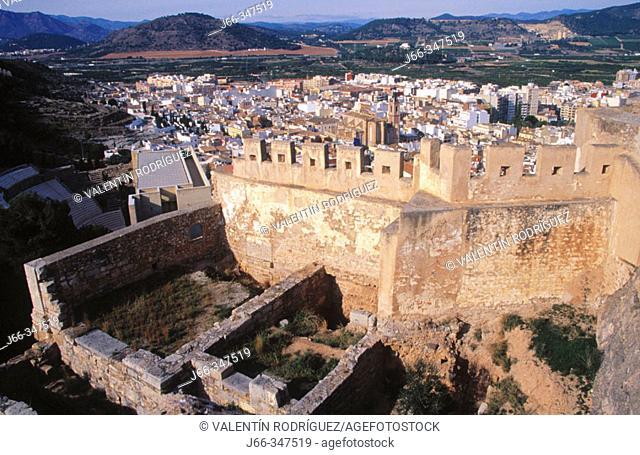 Castle ruins and Sagunto in background. Valencia province, Spain