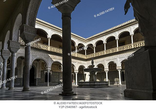 Courtyard of Pilate's House in Seville, Spain