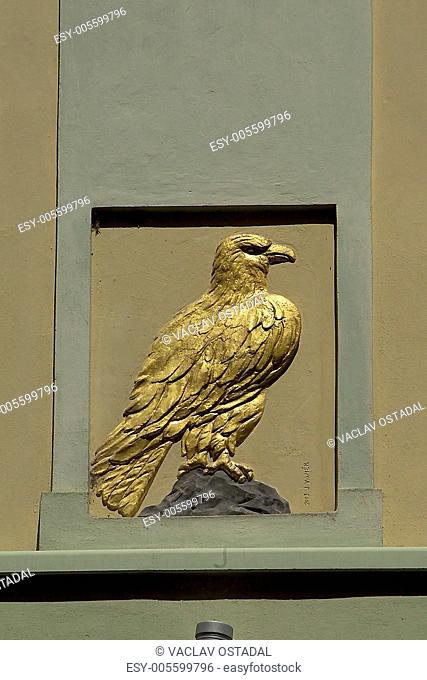 At the golden eagle, house sign in Prague, Czech republic, house sign on a originally renaissance house built at the ditch that separated Hradcany and Prague...