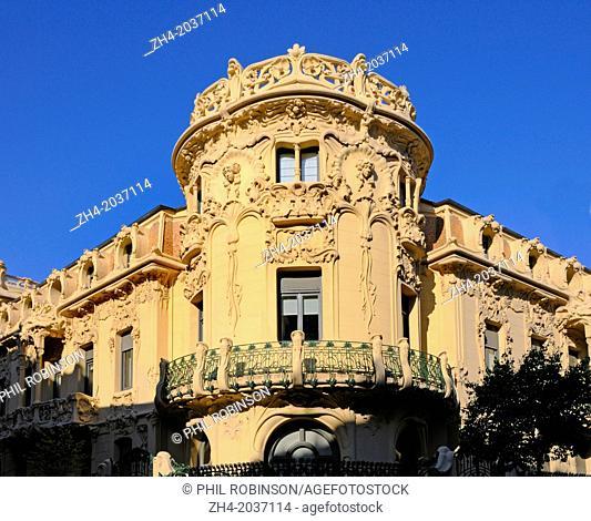 Madrid, Spain. Casa del Longoria (1902: Jose Grases Riera) in Calle Fernando VI. The Sociedad General de Autores. Art Nouveau