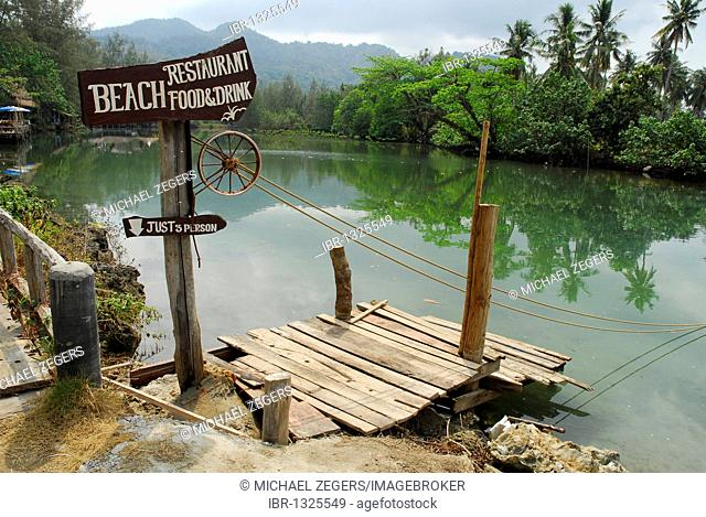 Cable ferry at the Blue Lagoon, Klong Prao Beach, Koh Chang Island, National Park Mu Ko Chang, Trat, Gulf of Thailand, Thailand, Asia