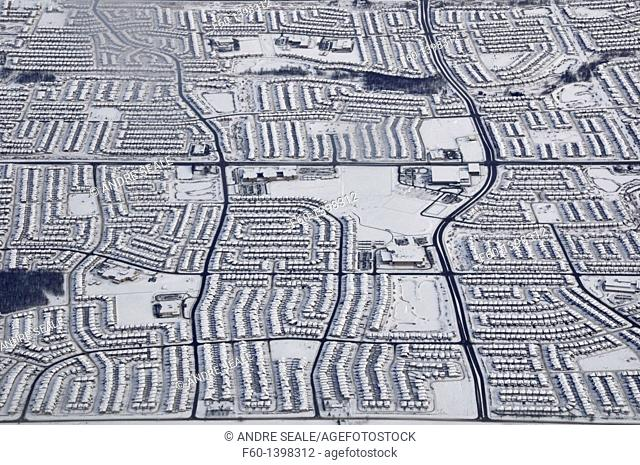 Aerial view of neighborhood in the snowy winter, Toronto, Ontario, Canada