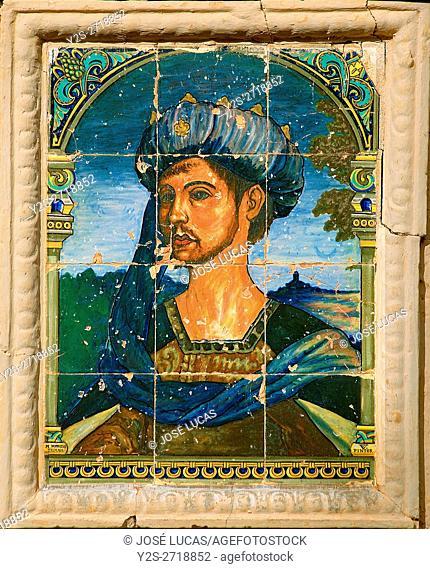 The House of Moorish King - tile detail, Ronda, Malaga province, Region of Andalusia, Spain, Europe