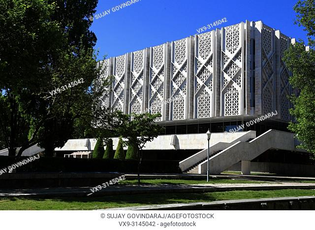 Tashkent, Uzbekistan - May 12, 2017: Back side view of State Museum of History of Uzbekistan, a famous landmark in the city that attract tourists