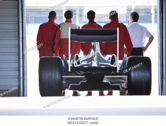 Race car sitting in garage