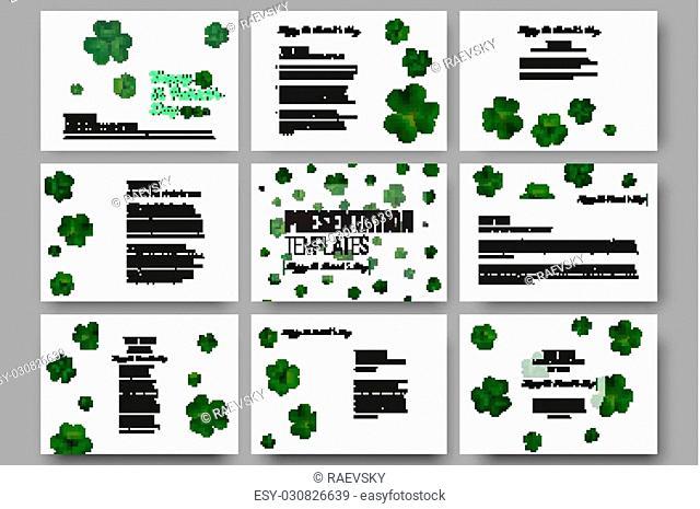 Set of 9 vector templates for presentation slides. Green clovers on white, decoration for St Patricks day