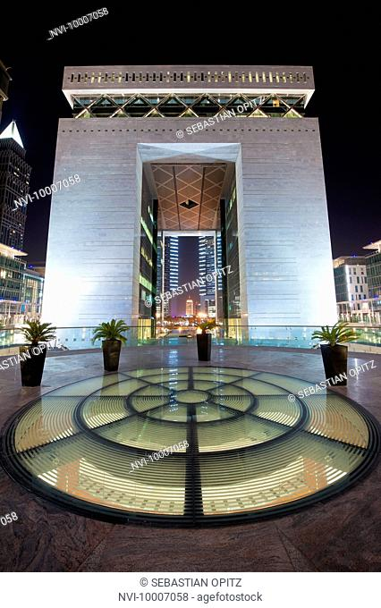 The Gate in the Dubai International Finance Centre DIFC at night, Downtown Dubai, UAE