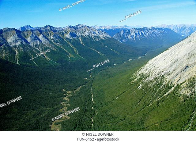 Scenic aerial view of one of the many valleys in the Assiniboine mountain region