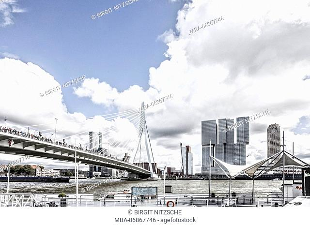 Erasmus Bridge with many people in Rotterdam