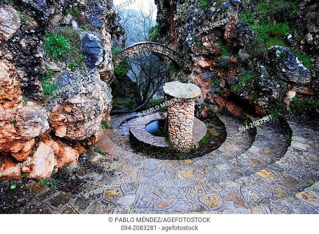 Old fountain in Riopar Viejo, Albacete province, Spain