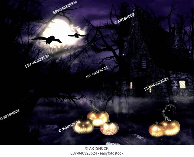 A spooky witch house at night with halloween pumpkins in forest