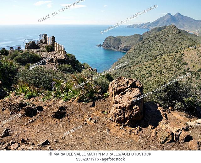 Amatista viewpoint in Cabo de Gata. Almeria. Andalucia. Spain. Europe
