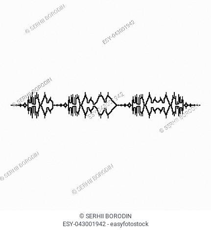 Soundtrack pulse music player audio wave equalizer element floating sound wave icon black