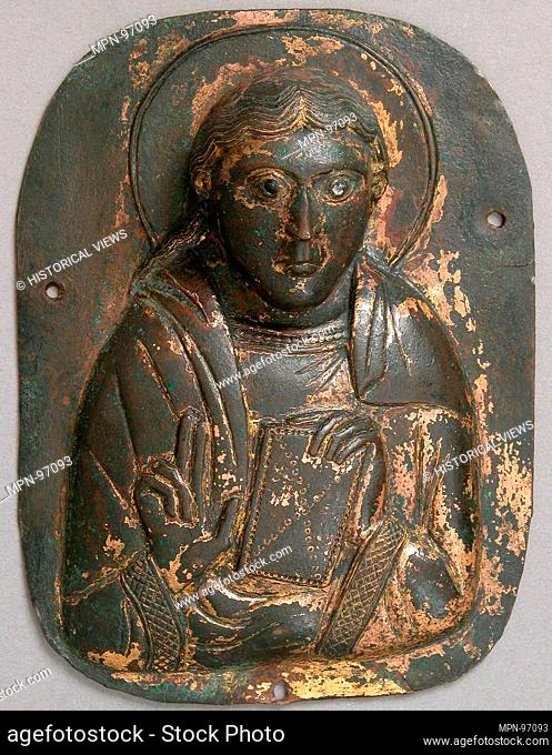 Bust of an Apostle. Date: ca. 1120-30; Geography: Made in Meuse Valley; Culture: South Netherlandish; Medium: Copper, gilding; Dimensions: Overall: 5 13/16 x 4...