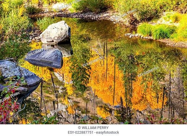 Fall Colors Fire Reflection Wenatchee River Valley Near Stevens Pass Leavenworth Washington