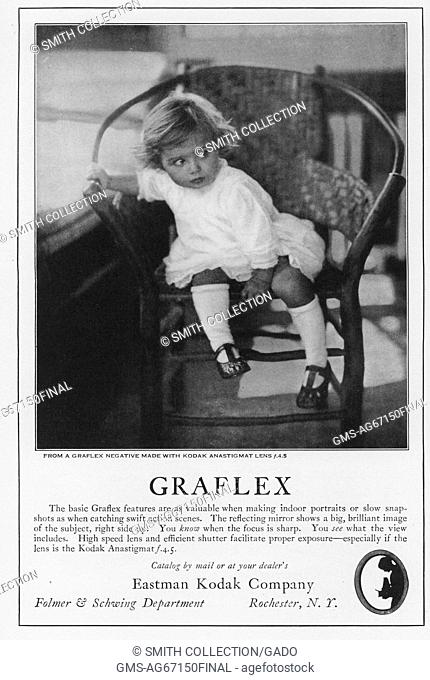 Advertisement for Graflex film from Eastman Kodak Company, featuring a photograph of a young girl, 1922