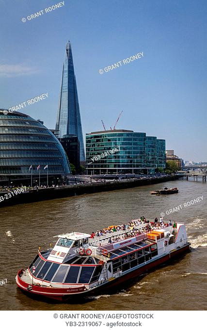 A Cruise Boat On The River Thames, London, England