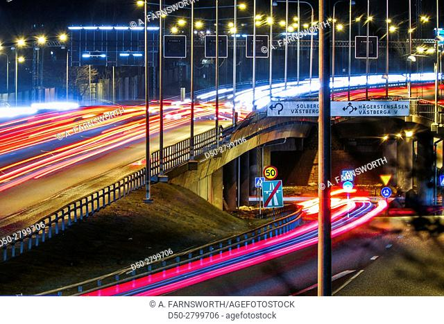 STOCKHOLM, SWEDEN Traffic on the E-4 Essingeleden highway