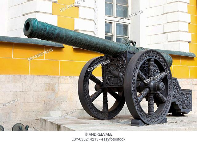 vintage cannon guns cast from copper Kremlin Moscow, Russia