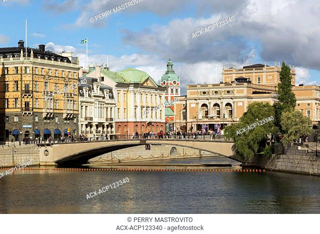 Colourful old architectural buildings and bridge, Gamla Stan, Stockholm, Sweden, Europe