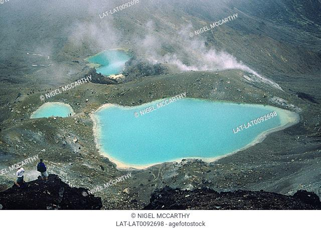 Tongariro national park. Emerald lake. Thermal activity. Salt laden water in volcanic lake. People on slopes