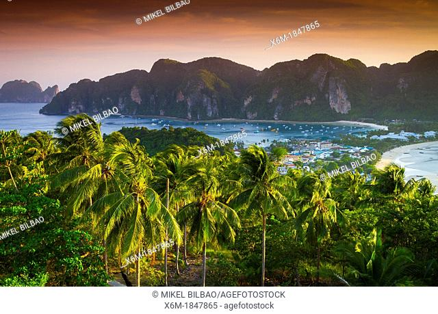 Phi Phi Don island from a viewpoint  Krabi province, Andaman Sea, Thailand