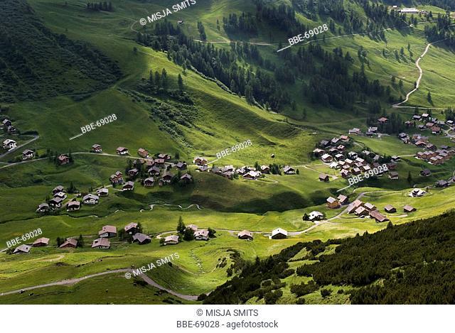 View from the Furstin Gina weg on the mountain village calles Malbun, Liechtenstein