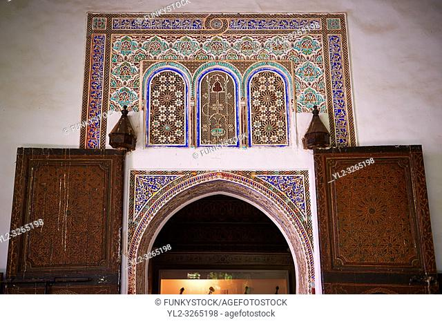 Berber arabesque Mocarabe plasterwork door surrounds. The Petite Court, Bahia Palace, Marrakesh, Morroco