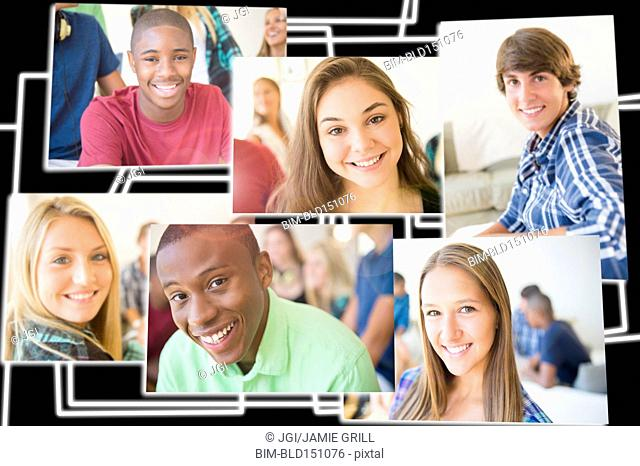Collage of smiling faces of teenagers