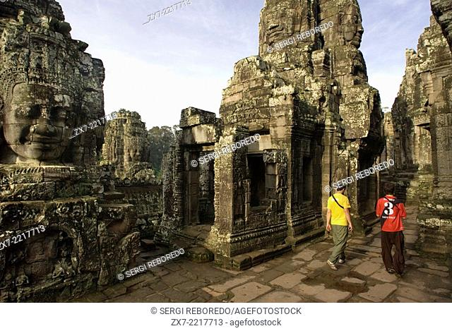The faces of the Bayon temple. Angkor Thom. The Bayon was built nearly 100 years after Angkor Wat. The basic structure and earliest part of the temple ate not...