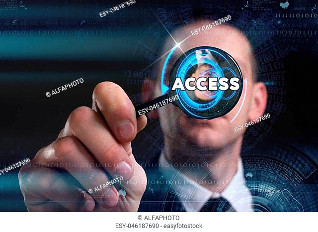 Business, Technology, Internet and network concept. Young businessman working on a virtual screen of the future and sees the inscription: access