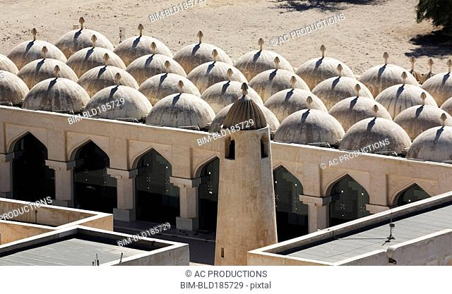 High angle view of domes on ornate mosque, Doha, Qatar