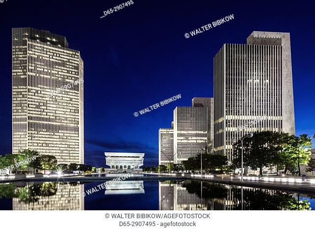 USA, New York, Hudson Valley, Albany, New York State Capitol, Rockefeller Empire State Plaza, Corning Tower, State Library, and legislative buildings