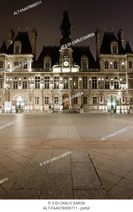 France, Paris, Hotel de Ville illuminated at night