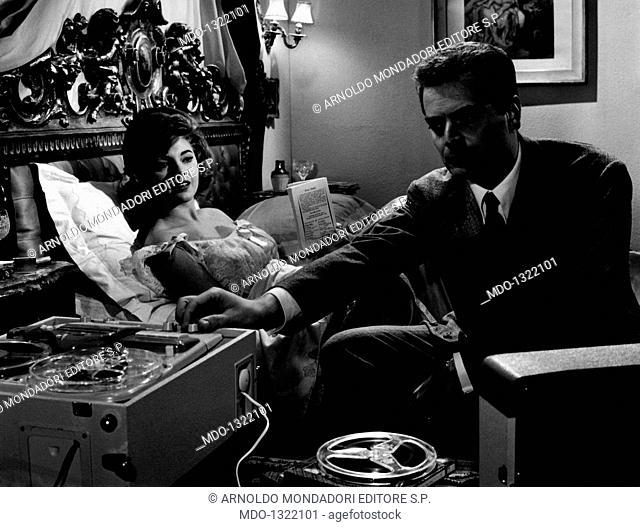 Sylva Koscina and Sergio Fantoni in 'Blood Feud'. Croatian-born Italian actress Sylva Koscina and Italian actor, dubber and director Serio Fantoni acting in the...