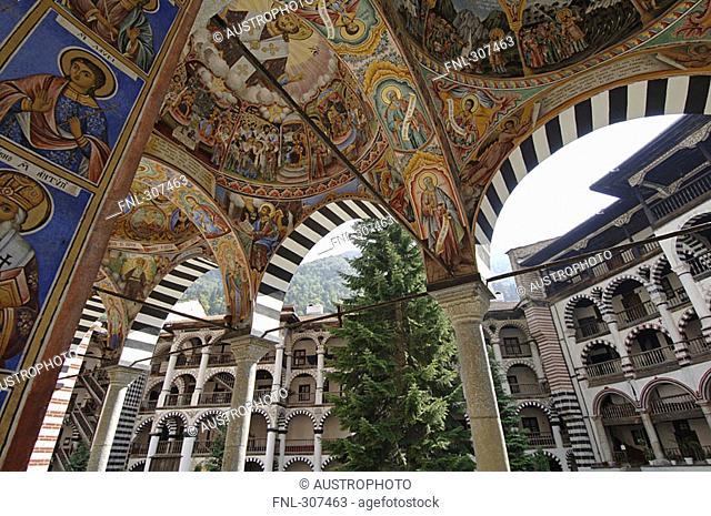 Decorative ceiling of monastery, Sofia, Bulgaria
