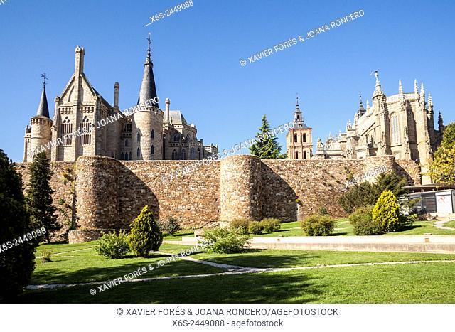 View of the wall, Cathedral of Santa Maria and Episcopal Palace in Astorga, Way of St. James, Leon, Spain