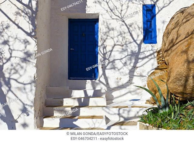 Shadow on a building in Chora village on Ios island in Greece.
