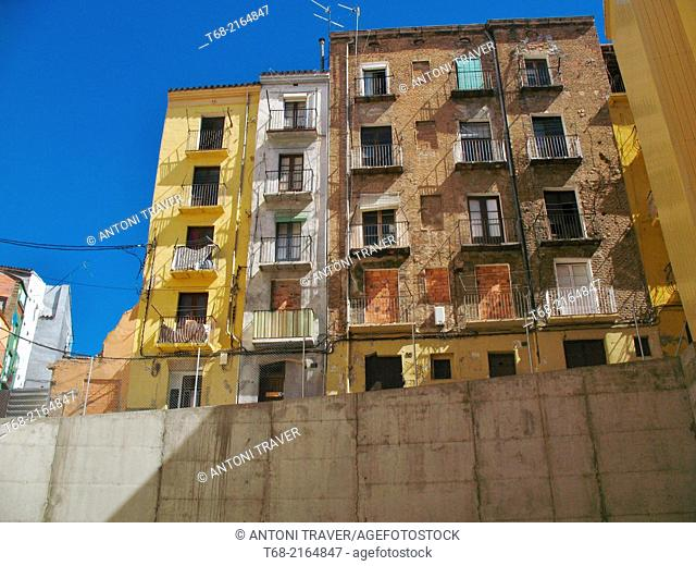 Dilapidated houses of the old town of Lleida, Spain