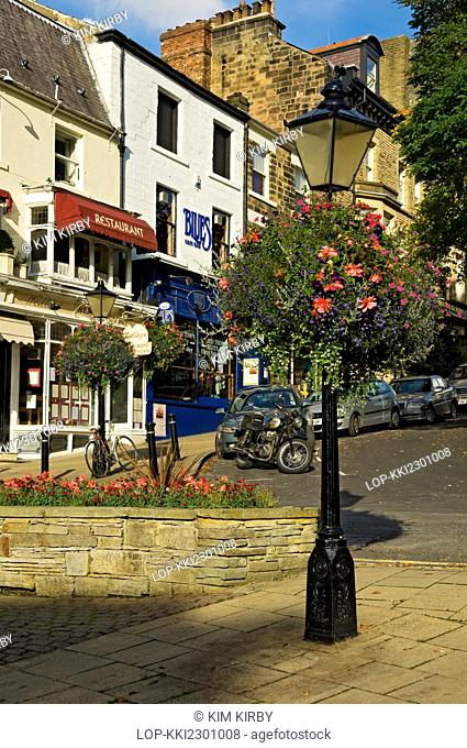 England, North Yorkshire, Harrogate. Lamp post with hanging flower basket on Montpellier Parade