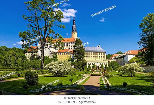 Weesenstein castle with baroque garden in Mueglitztal, Saxony, Germany
