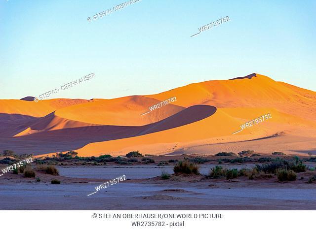 Namibia, Hardap, Sossusvlei, Sandbergs at sunrise in the desert, at sunrise